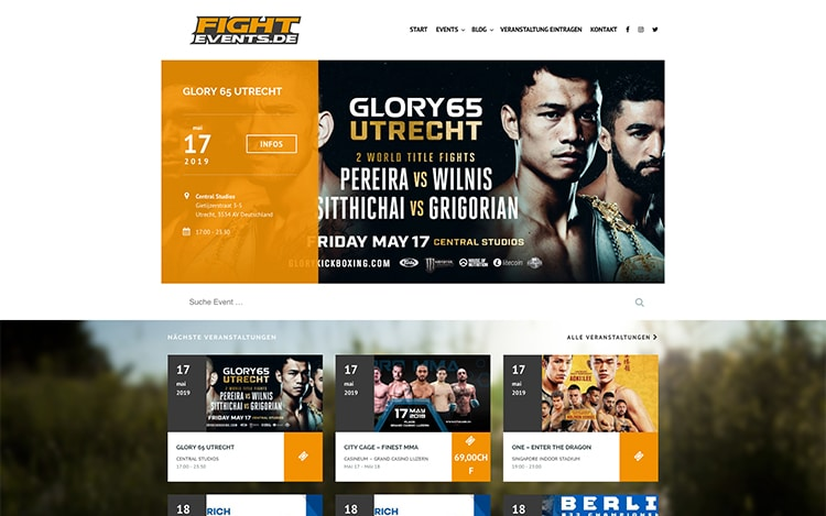 FIGHTEVENTS.DE Blog & Event Website